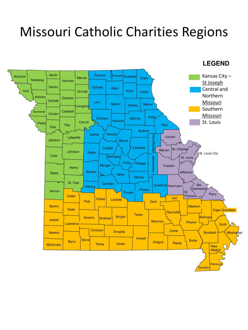 MO Catholic Charities Regions Map 1