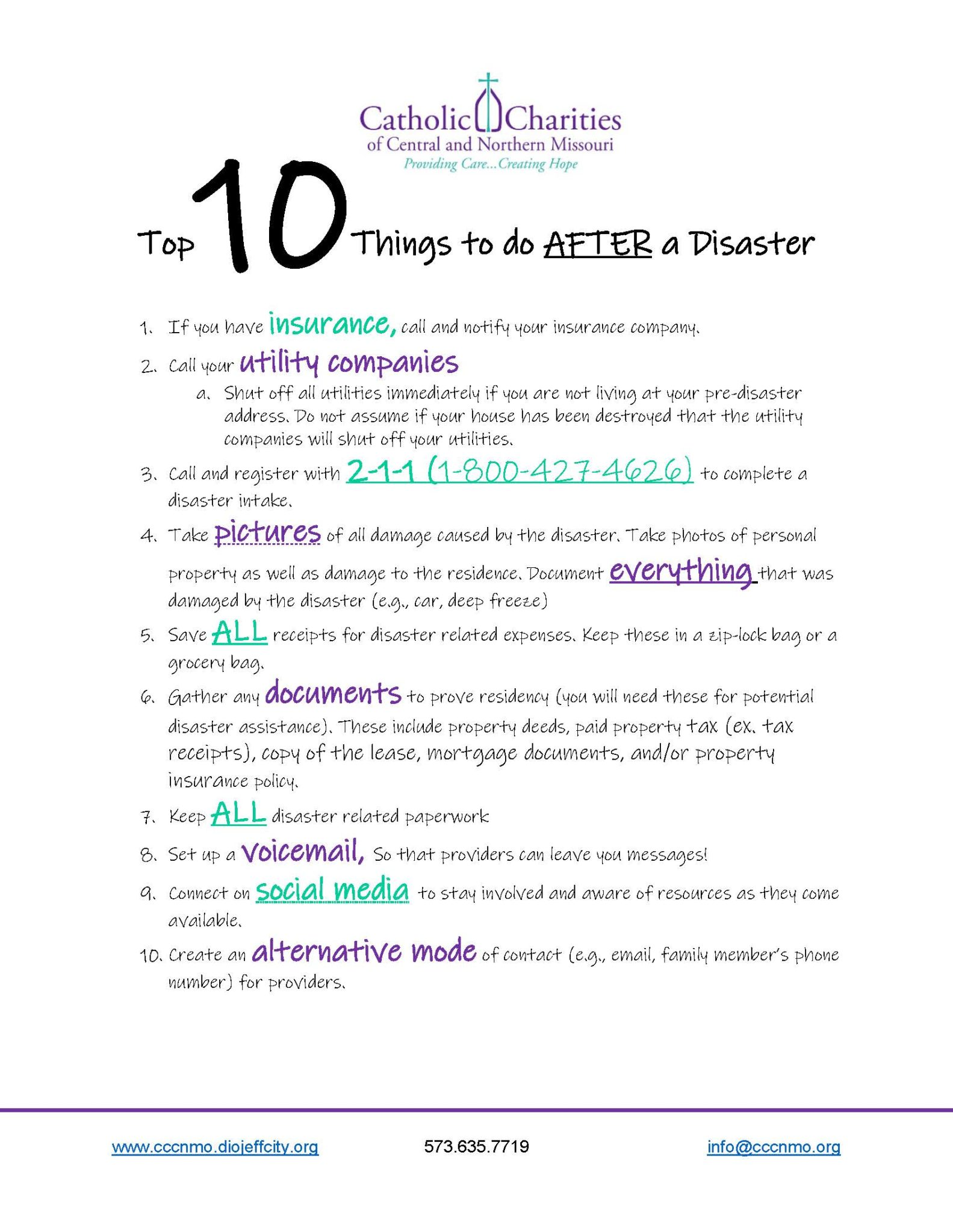 First10things To Do AFTER A Disaster Page 1