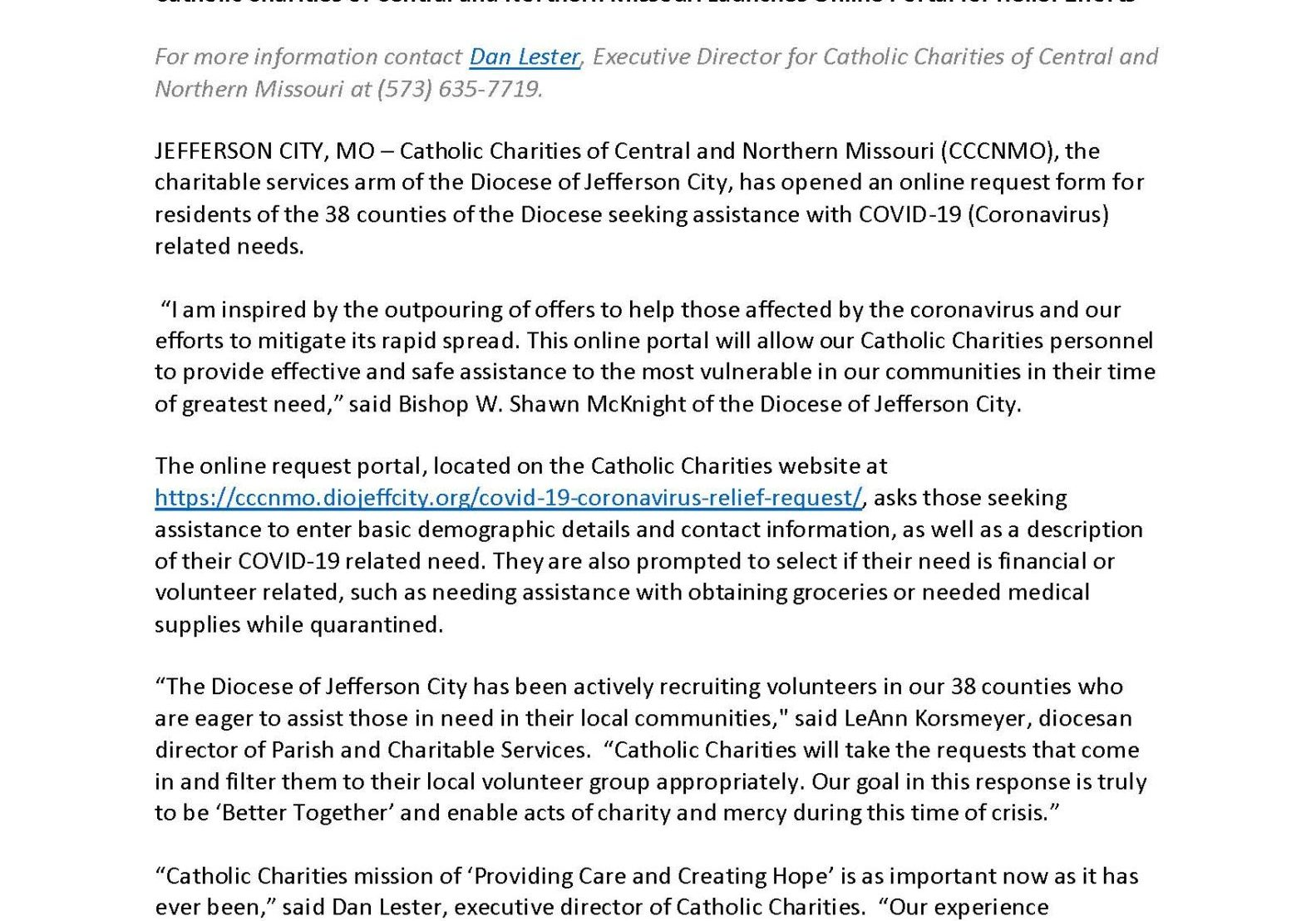 Catholic Charities Of Central And Northern Missouri Launches Online Portal For Relief Efforts Page 1