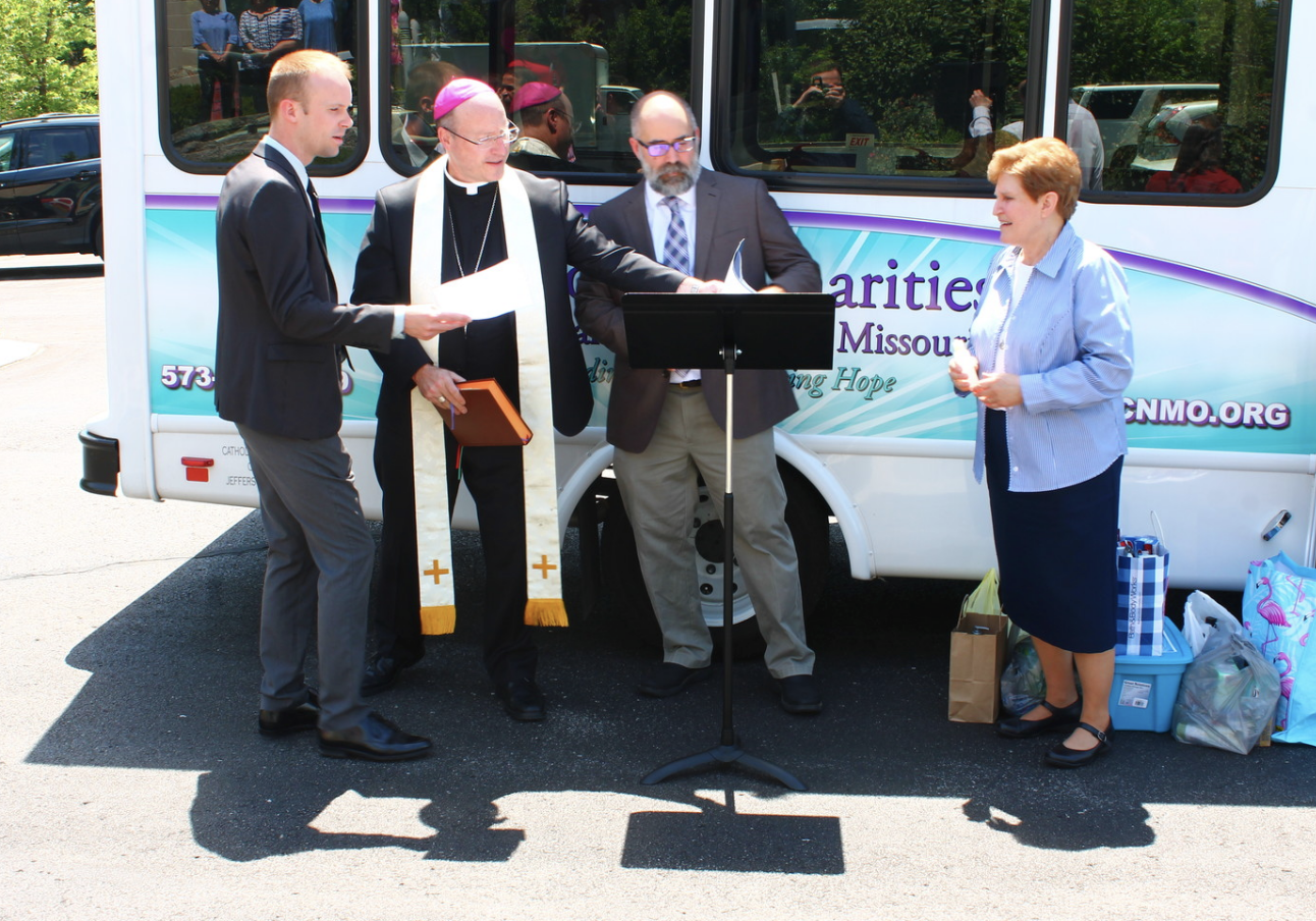 Bishop blesses Catholic Charities' 'Chariot of Charity'